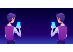 使用智能手机应用后视图的男孩_8433465