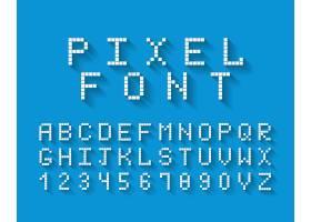 像素字体蓝色背景上有完整的大写字母和数_10702957