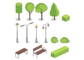 公园元素三维等轴测插图_3264836