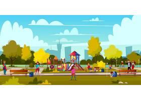 公园里卡通游乐场的矢量背景有人有孩子_4015264
