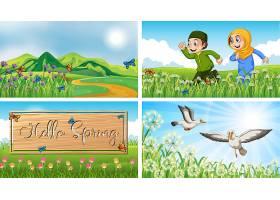 公园里有孩子和小鸟的自然场景背景_8390454