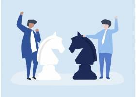 两位商人下棋的人物形象插图_3046763