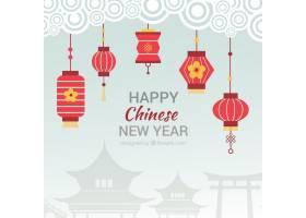 中国新年背景平坦挂着大红灯笼_996505