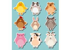 为可爱的农场动物设计贴纸_1339054