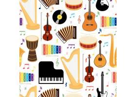 乐器无缝背景图案彩色矢量图标描绘正方形_10600505