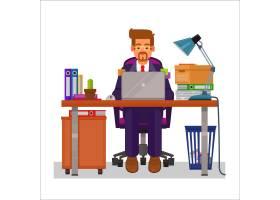 一个在计算机上工作的人的矢量平面插图_1215665