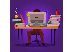 一个在计算机上工作的人的矢量插图_1215562