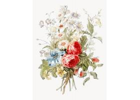一束鲜花的复古插图_3416248