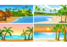 一组热带海洋自然景观或海滩背景_5135396