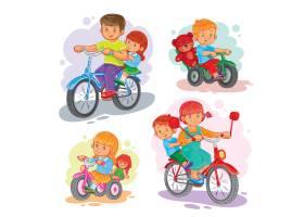 一组矢量图标骑自行车的小孩子_1215633