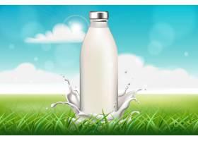 一瓶牛奶周围是草地上飞溅的水花_10117274