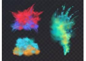 一组逼真的彩色粉云或爆炸隔离在透明背景_3586202
