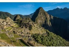 阳光和蓝天下的秘鲁马丘比丘景观_9991600