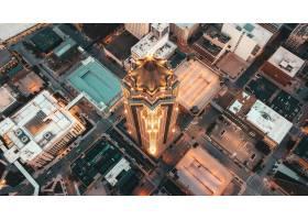 现代建筑的空中俯瞰有摩天大楼和其他商业_7955787