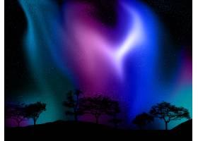 在北极光天空的衬托下对树木景观进行3D渲染_10167222