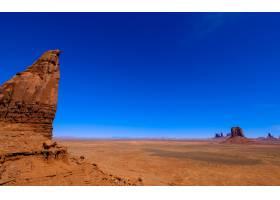 悬崖峭壁的沙漠晴朗蓝天的干燥田野_8070202