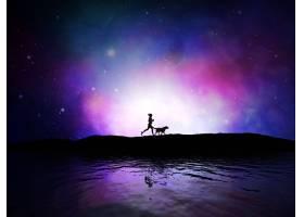 一名女性带着她的狗在太空中慢跑的3D渲染_1138364