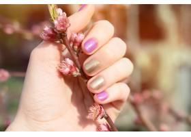 金色和紫色指甲设计的女性手握着花枝_9131175