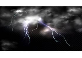 雷击雷云电击放电和暴风云撞击地点或魔_9886828