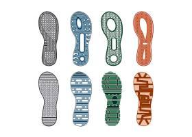 运动鞋脚印彩色集不同图案在白色背景上孤立_10379157