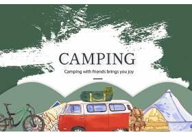 露营背景与面包车自行车地图和水斗帽插_5697980
