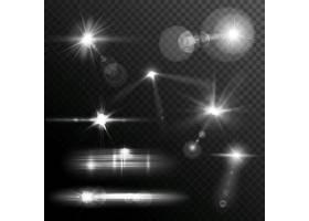 透明背景上的真实镜头光斑星光和发光的白_3815737
