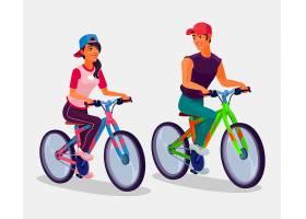 骑自行车的小男孩和小女孩_1215599