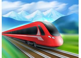 高铁群山背景写实海报_3888753
