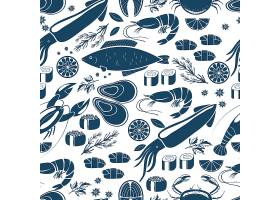 鱼寿司和海鲜无缝背景图案蓝白相间的鱿_10703574