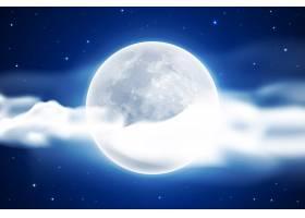 逼真的满月天空背景_6671452