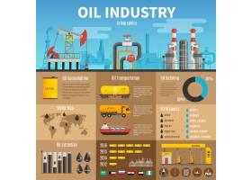 采油运输中的石油工业矢量信息图_3912835
