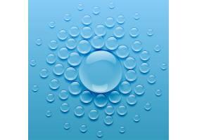 蓝色背景上的水滴_4350483