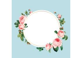 蓝色背景上的空白粉色玫瑰色框架矢量_3593311
