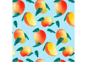 蓝色背景上美味的芒果图案_8803033