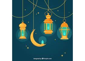 蓝色背景带扁平灯和月亮用于斋月_1109980