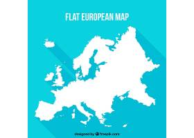 蓝色背景的平面欧洲地图_1115055