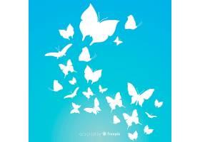 蝴蝶群剪影背景_4060690