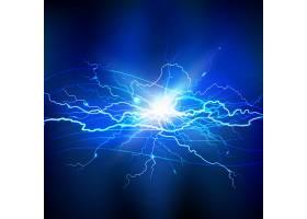 蓝色闪电逼真的背景带有一束明亮的灯光_2869216