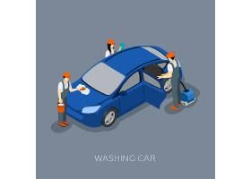 自动洗车服务队洗车等距横幅_3887760