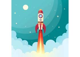 航天火箭在太空中与月亮和星星一起飞行的背_1158410