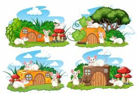 花园里一组奇幻的房子白色背景上孤立着可_9135983