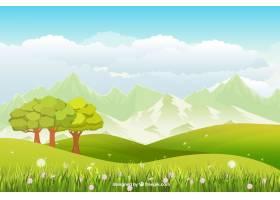 草甸为背景绿树成荫花团锦簇_1054834