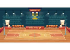 空篮球场的卡通背景体育馆内部有聚光灯_3586327