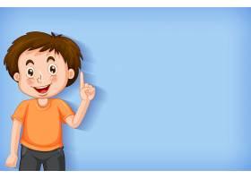 简单的背景男孩指着他的手指_7584044