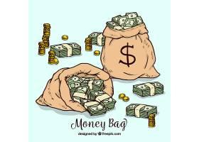 纸币和硬币袋的背景_1122839