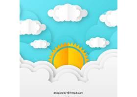 纸质纹理中带有云彩的白天天空背景_2235748