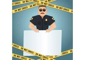 白板黄色不交叉胶带警察人物海报矢量插图_1158856