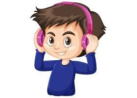 白色背景上戴粉色耳机的可爱男孩_9720880