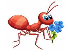 白色背景上手持蓝花的可爱蚂蚁卡通人物_8696771