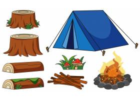 白色背景上的蓝色帐篷和篝火_1504497